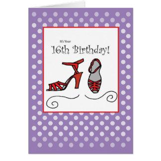 第16女の子のバースデー・カード、靴、紫色の水玉模様 グリーティングカード