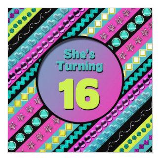 第16女の子の誕生日のパーティの招待状-抽象芸術 カード