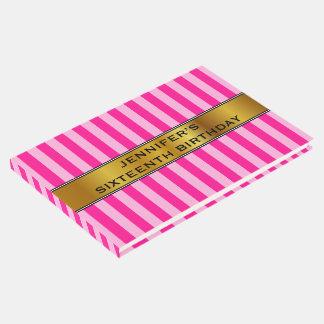 第16淡いピンク及び濃いピンクの誕生日は縞で飾ります ゲストブック