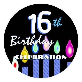 第16蝋燭V02の青い縞との誕生日 カード
