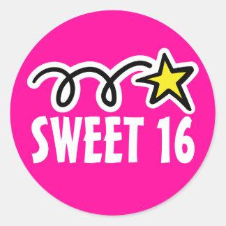 第16誕生会のための菓子16のステッカー ラウンドシール