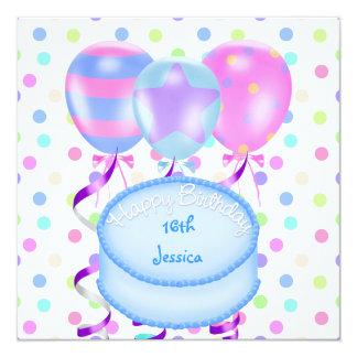 第16誕生会の気球のケーキの吹流し カード