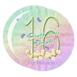 第16誕生会の虹によっては招待状が開花します カード