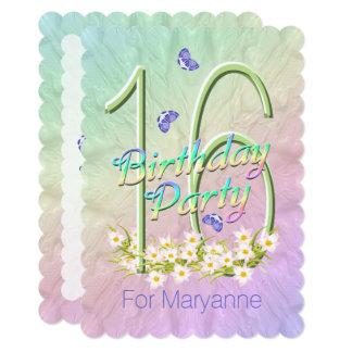 第16誕生会の虹の庭の招待状 カード