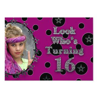 第16誕生会-女の子-水玉模様および星 カード