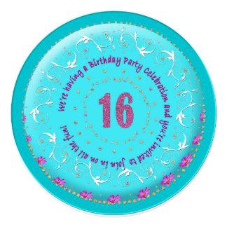 第16誕生日のパーティの招待状- CAKE/ROUND/AQUA カード