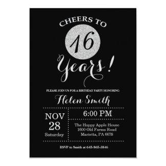第16誕生日の招待状の黒および銀のグリッター カード