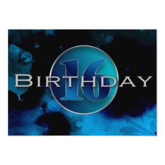 第16誕生日の招待状-抽象的な青 カード