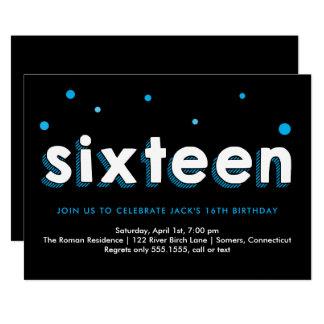第16誕生日の招待状、青いスケッチされた手紙 カード