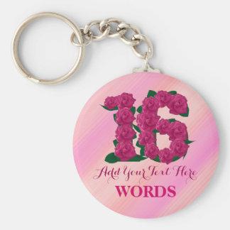 第16誕生日16のピンクのばら色の花のテンプレート キーホルダー