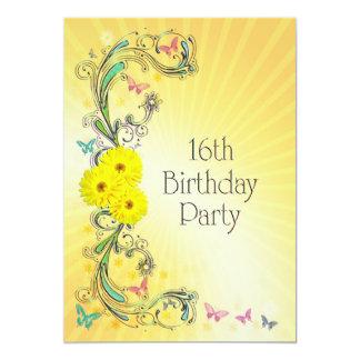 第16黄色い花を持つ誕生日のパーティの招待状 カード