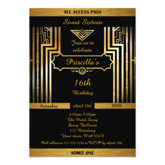 第16、誕生日第16、Gatsbyのスタイル、黒及び金ゴールド カード