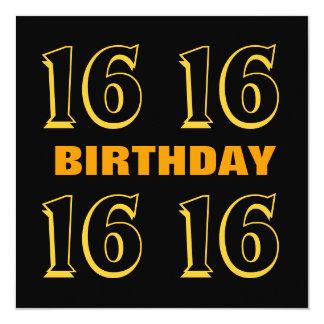 第16 10代のな誕生日のモダンな金ゴールドおよび黒いW1015 カード