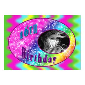 第16 BIRDAYのパーティガールの写真の挿入物-カラフル カード