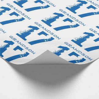 第17孫のための誕生日、白の青い文字 ラッピングペーパー