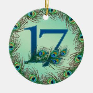 第17誕生日または記念日の孔雀数 セラミックオーナメント