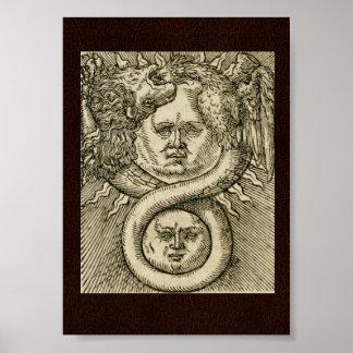 第17 C.錬金術のイラストレーション: 日曜日、月及びドラゴン ポスター