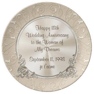 第18私の夢のギフトの女性への記念日 磁器プレート