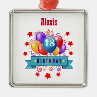 第18誕生日のお祝いのカラフルの気球V10HZ メタルオーナメント