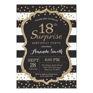第18誕生日の招待状を驚かして下さい。 金ゴールドのグリッター カード