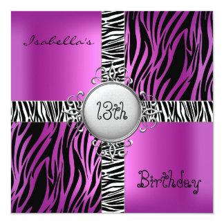 第18 10代のな誕生会のシマウマのピンクの黒の銀2 13.3 スクエアインビテーションカード