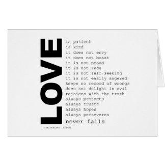 第1 Corinthiansの13:4 -愛詩 カード