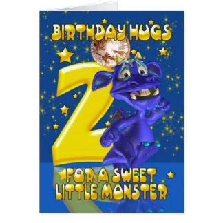 第2かわいく青いモンスター- Mooniesが付いているバースデー・カード カード