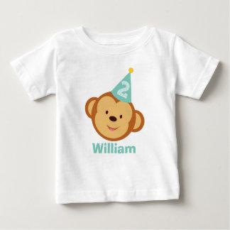 第2名前入りな名前の誕生日猿の男の子 ベビーTシャツ