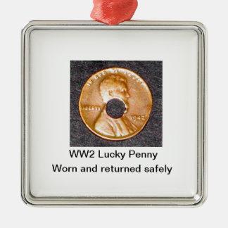 第2次世界大戦の幸運なペニーのオーナメントの円だけ及び正方形 メタルオーナメント