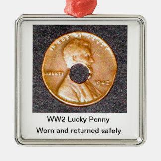 第2次世界大戦の幸運なペニーのオーナメントの正方形だけ メタルオーナメント