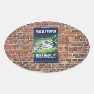 第2次世界大戦の戦時のプロパガンダポスター 楕円形シール