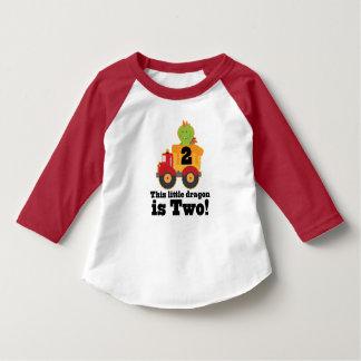 第2誕生日のドラゴンのダンプトラックの2歳児のTシャツ Tシャツ