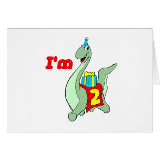 第2誕生日のパーティの招待状-恐竜 カード