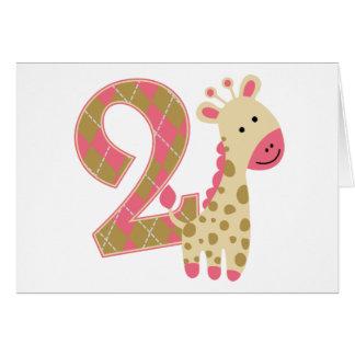 第2誕生日のピンクのキリン カード