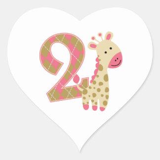 第2誕生日のピンクのキリン ハートシール