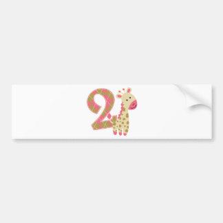 第2誕生日のピンクのキリン バンパーステッカー