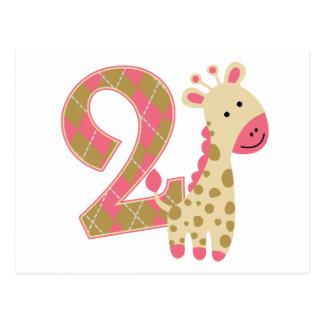 第2誕生日のピンクのキリン ポストカード