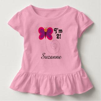 第2誕生日私は2人の蝶女の子のTシャツです トドラーTシャツ