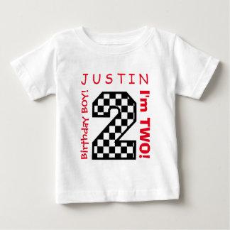 第2赤ん坊の誕生日大きい数A25チェッカー ベビーTシャツ