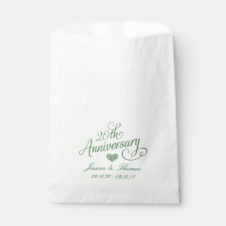 第20エメラルドの結婚記念日の好意のバッグ フェイバーバッグ