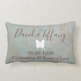 第20結婚記念日の青く、銅のプリント ランバークッション