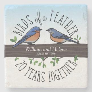 第20結婚記念日、羽のブルーバード ストーンコースター