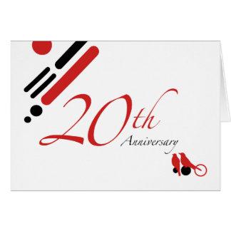 第20記念日(モダンな鳥) グリーティングカード