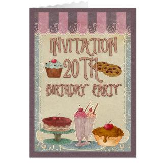 第20誕生会-ケーキ、クッキー、アイスクリーム カード