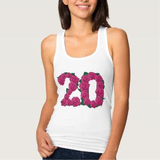 第20誕生日の結婚記念日の花柄のTシャツ タンクトップ