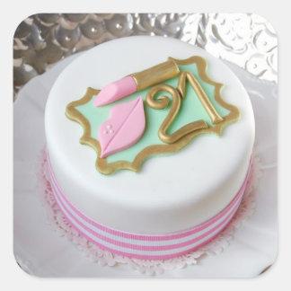 第21お誕生日ケーキのステッカー スクエアシール