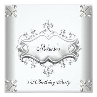 第21誕生会のエレガントな銀製の白い灰色 カード