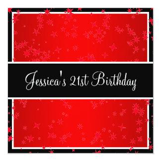 第21誕生会の明るく赤い星黒及び白 カード