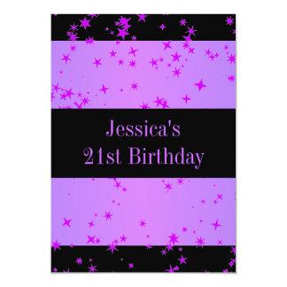 第21誕生会の紫色の星の黒 カード