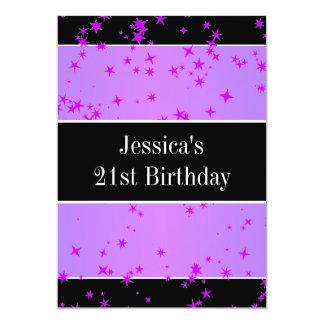 第21誕生会の紫色の星黒及び白 カード